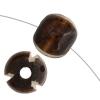 Bone Flat Round Beads 15x5mm Dark Brown Worked On Bone